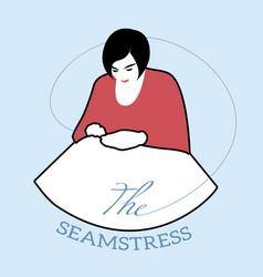 logo style retro outlines dressmaker seamstress vector image