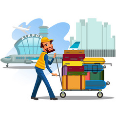 Man carries trolley with luggage for loading vector