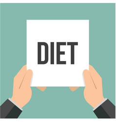 man showing paper diet text vector image