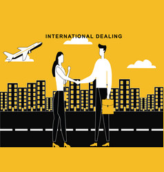 man woman dealing concept at international level vector image