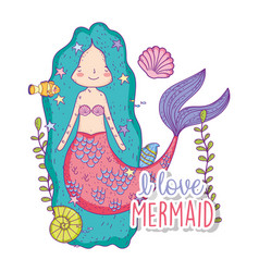 Mermaid woman with shells underwater with plants vector