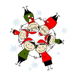 Merry christmas Happy family for your design vector image vector image