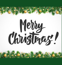 Merry christmas text fir tree branches and vector