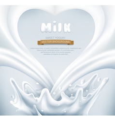 Milk splash in the form of heart on a gray backgro vector image