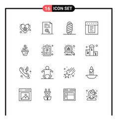 Modern set 16 outlines and symbols such as vector