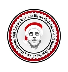 Monochrome flat logo daring hipster Santa Claus vector