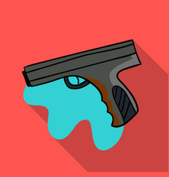 Paintball player icon in outline style isolated on vector