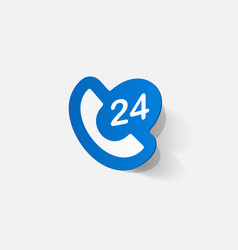 Paper clipped sticker all-day customer support vector