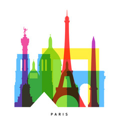 paris landmarks bright collage vector image