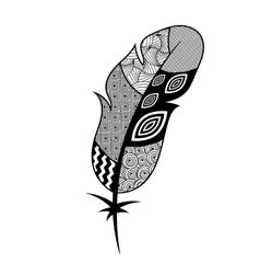 Patterned black and white feather vector