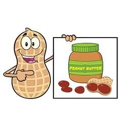 Peanut cartoon with peanut butter sign vector
