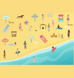 people at beach performing leisure and relaxing vector image