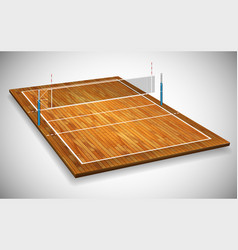 perspective of hardwood vollyball field court vector image