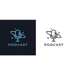 Podcast mic logo icon vector