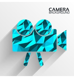 Polygonal camera blue background concept vector image