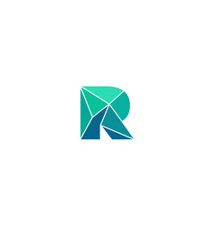 Polygonal trend letter r logotype color vector