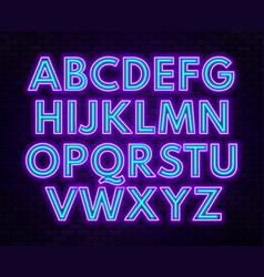 purple blue neon alphabet on a dark background vector image