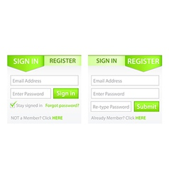 Register Sign in Forms with Green Gradient Header vector