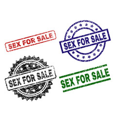 Scratched textured sex for sale seal stamps vector