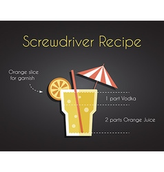 Screw Driver Cocktail Drink Recipe vector
