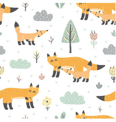 seamless pattern with cute foxes - mother and baby vector image