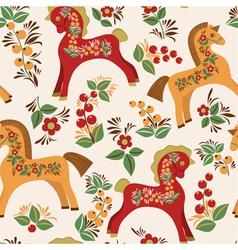 Seamless pattern with folk horses vector image