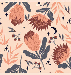 seamless pattern with protea flowers graphics vector image