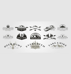 set adventure mountain outdoor vintage logo vector image