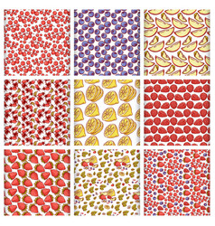 Set fruits and berries seamless pattern vector