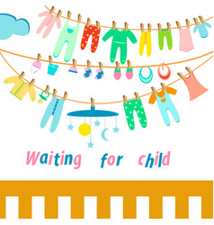 Set of baby clothes for newborns childrens toys vector