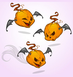 Set of cartoon pumpkin heads vector