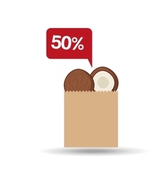 Shopping discount coconut fruit icon vector