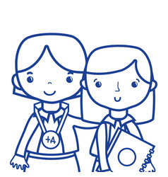 silhouette teacher with student to class education vector image