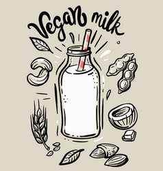 sketch vegan milk vector image