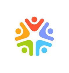 social team network logo design teamwork logotype vector image