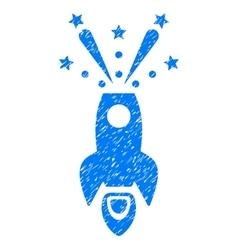 Space rocket boom grainy texture icon vector