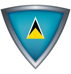 steel shield with flag saint lucia vector image