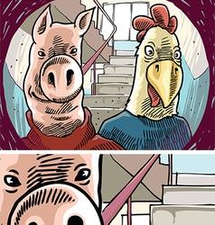 Strange visitors behind door vector
