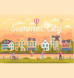 Summer city - modern flat design style vector