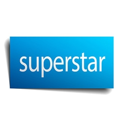 Superstar blue paper sign on white background vector
