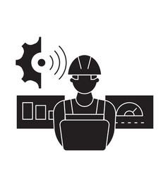 Technician control black concept icon vector