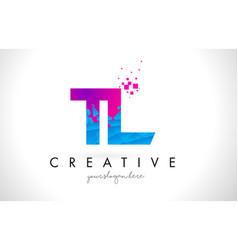 Tl t l letter logo with shattered broken blue vector