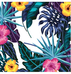 tropical leaves and flowers background vector image