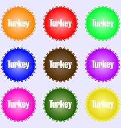 Turkey icon sign Big set of colorful diverse vector