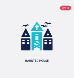 two color haunted house icon from halloween vector image