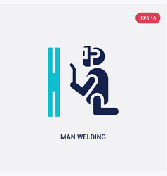 Two color man welding icon from behavior concept vector