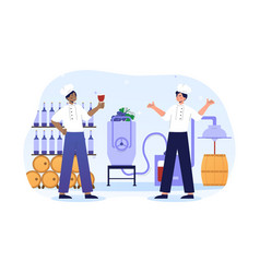 two male wine makers are trying new red wine vector image