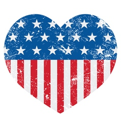 Usa america retro heart flag - vector