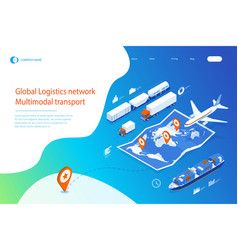 web template banner global logistics network flat vector image