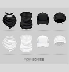 White and black head bandanas and cap neck scarf vector